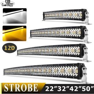 Image 1 - Co Licht 22 32 42 50 Inch Gebogen Led Light Bar Strobe Combo 390W 585W 780W 936W 3 Rij Voor Rijden Offroad Auto Vrachtwagen 4X4 Suv 12V