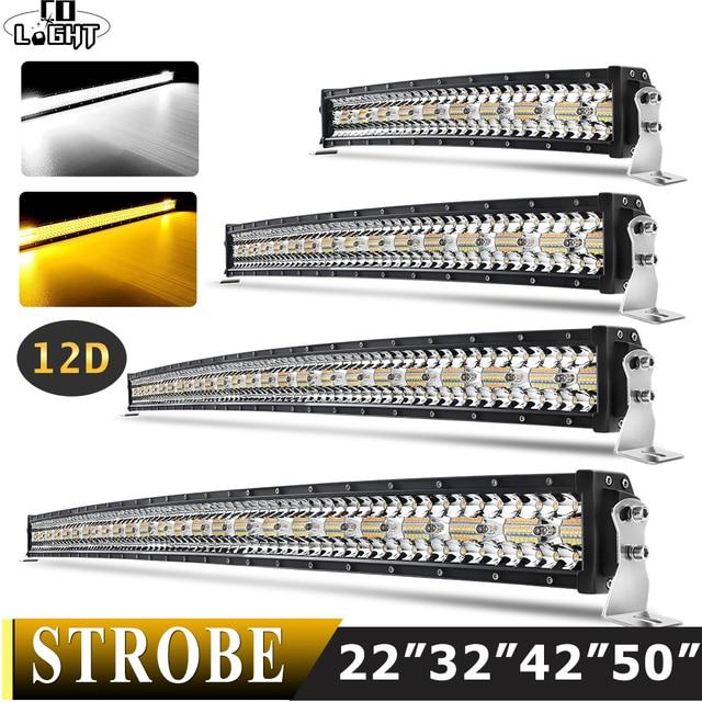 Co Licht 22 32 42 50 Inch Gebogen Led Light Bar Strobe Combo 390W 585W 780W 936W 3 Rij Voor Rijden Offroad Auto Vrachtwagen 4X4 Suv 12V