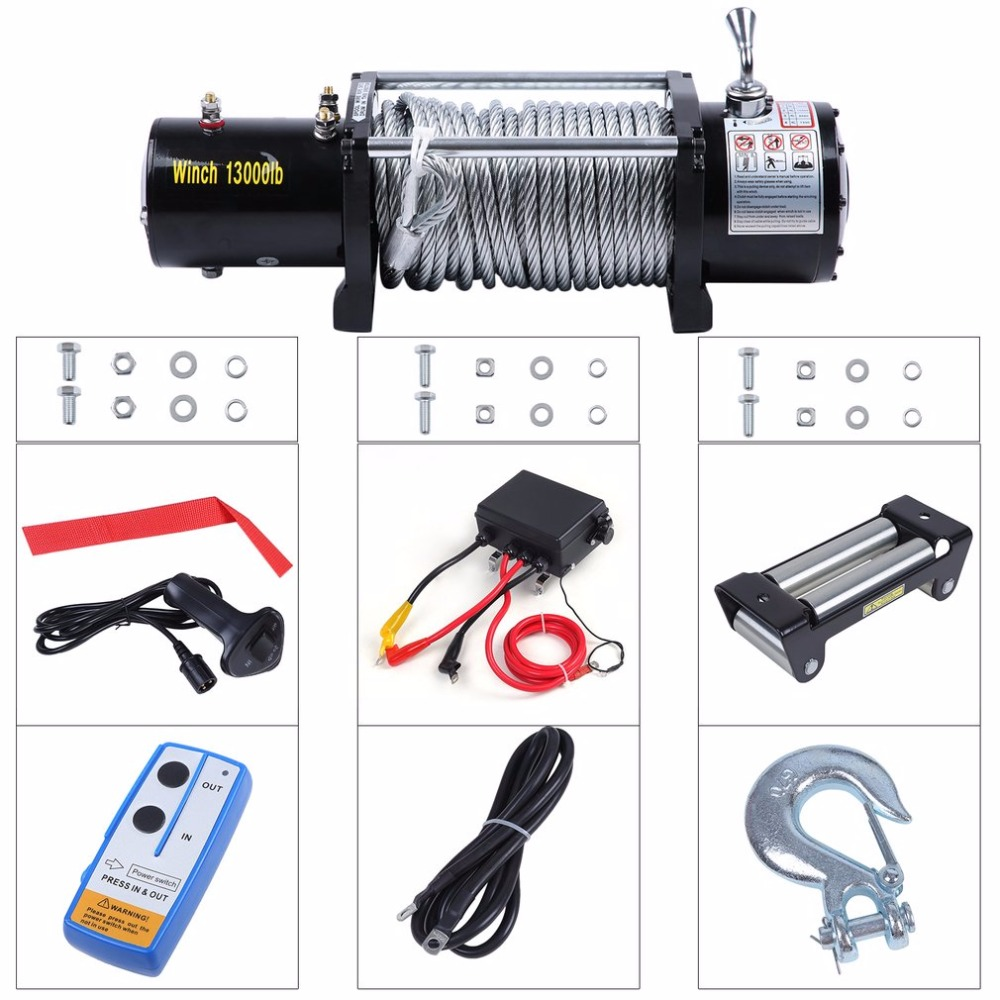 12V Electrical Winch Wire Rope Capacity 13000lbs With Remote Control Cars Off-Road Engines Lift Winch Motor Winch Trailer Truck