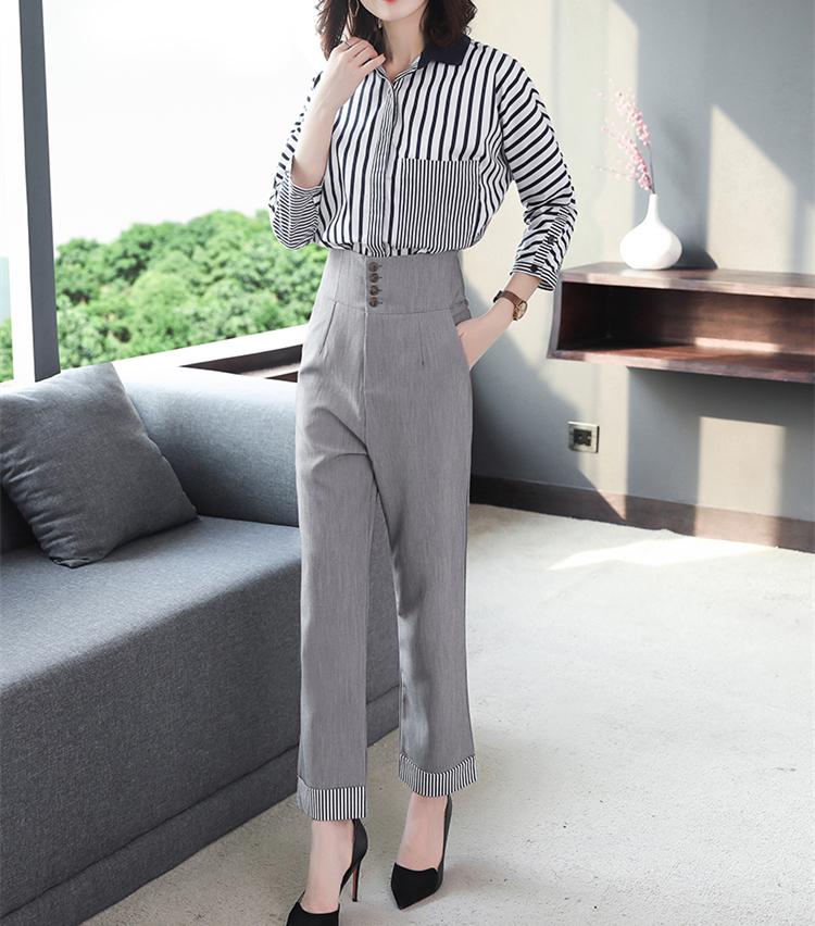 2019 Autumn Grey Striped Office Two Piece Sets Outfits Women Plus Size Long Sleeve Shirts And High Waist Pants Elegant OL Suits 33