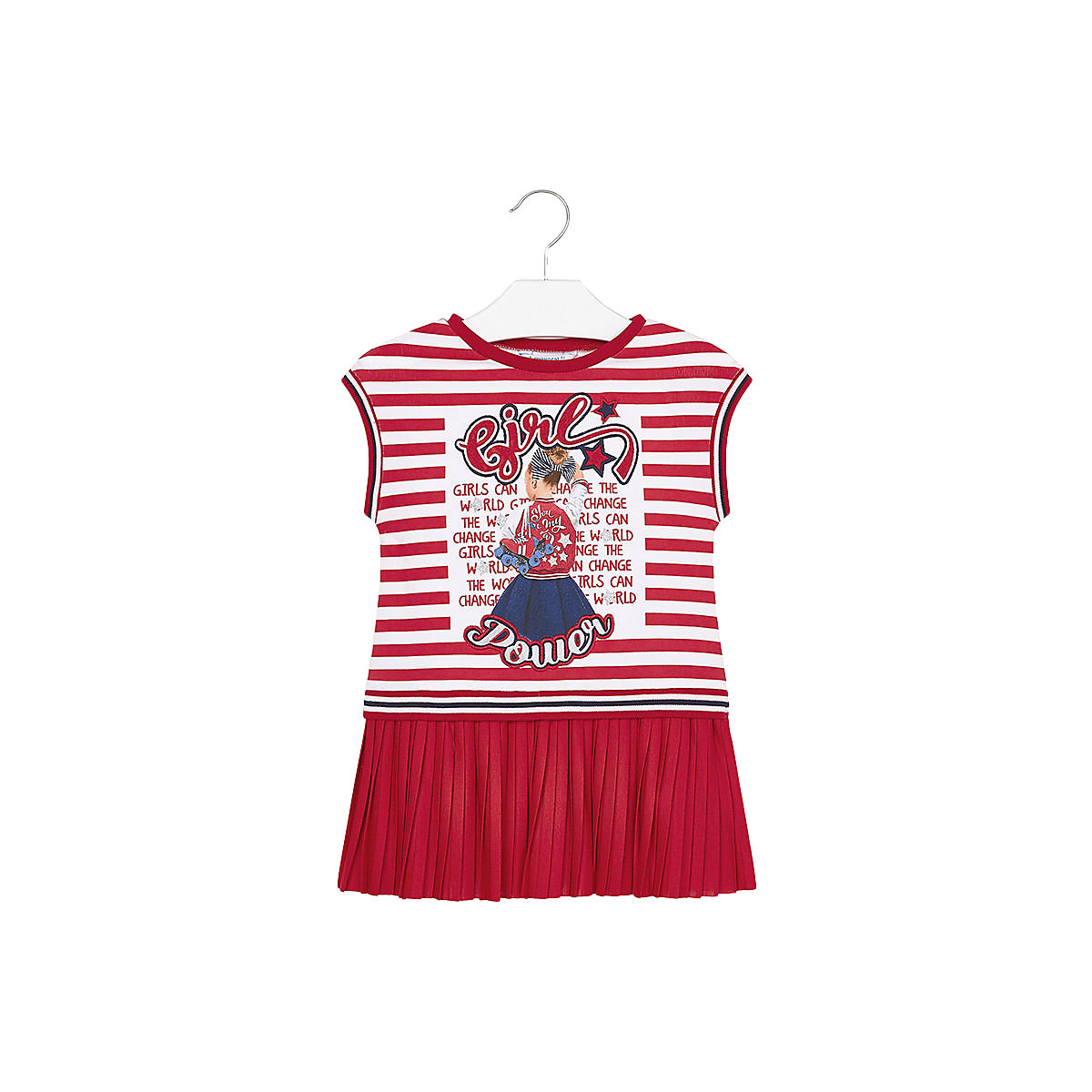 MAYORAL Dresses 10690286 Girl Children fitted pleated skirt Red Polyester Casual Striped Knee-Length Short Sleeve
