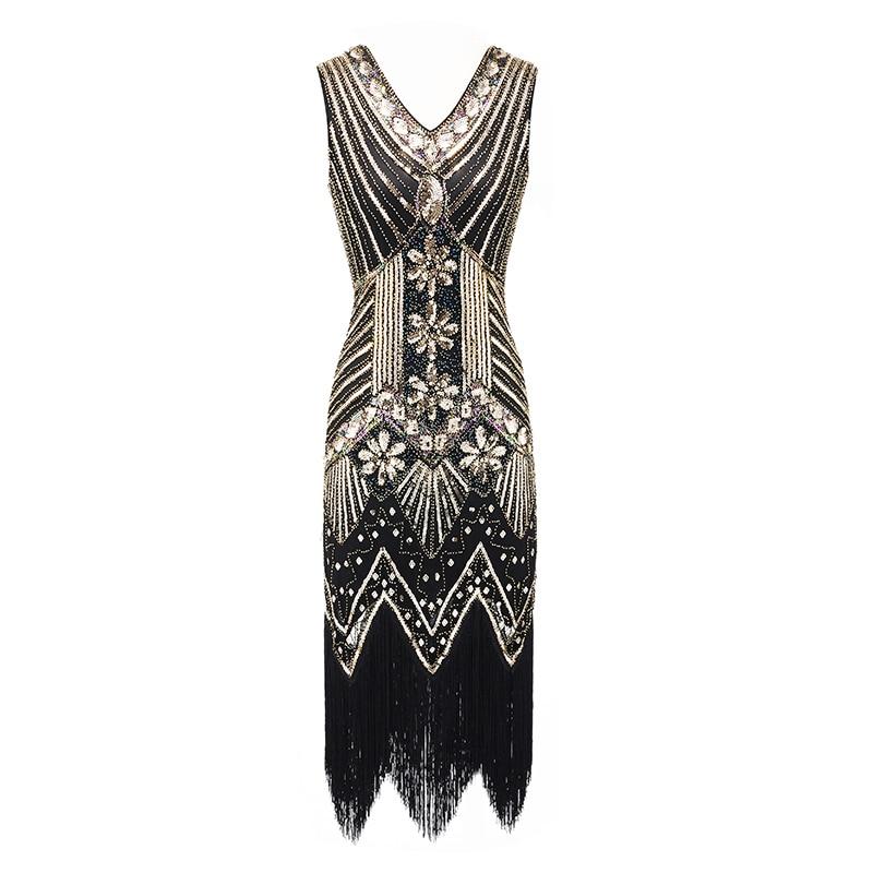 Women 1920s Vintage Flapper Great Gatsby Dress Summer Sleeveless Party Costumes V-Neck Sequin Fringed Tassel Evening Midi Dress