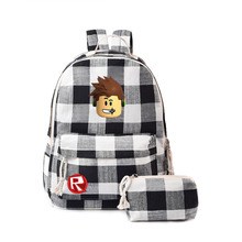 Canvas Student Backpack School Bag Plaid Backpack Campus Student Bag Large Capacity Travel Backpack School Bags For Girls