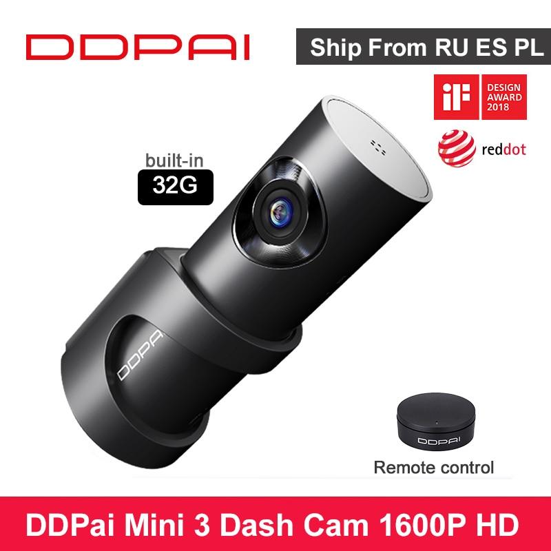 Ddpai mini3 câmera do carro dvr wifi 1600 p hd visão noturna emmc 32 gb ddapai mini 3 traço cam gravador de vídeo automático 24 h monitor estacionamento