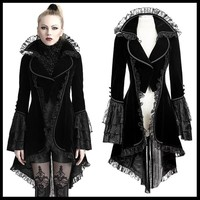 PUNK RAVE Women Gothic Lolita Forked Tail Black Coat Evening Party Women Gorgeous Outcoat Steampunk Stage Perform Costume