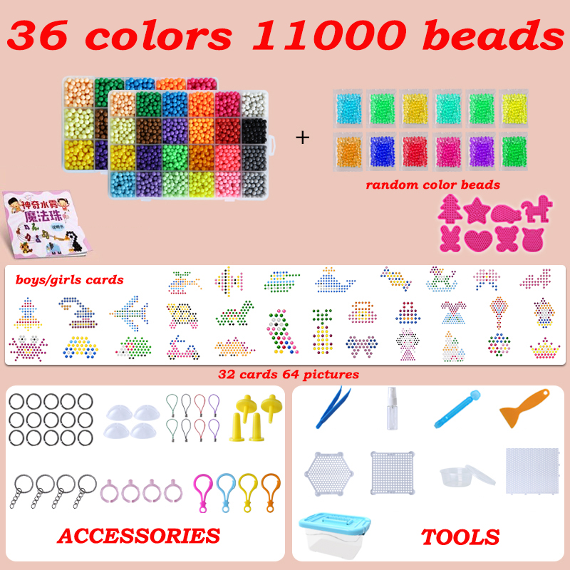 Diy Water Sticky Beads Toys For Children Montessori Educational Magic Puzzle Toys Beads Set Kids Girls Boys 3 5 7 8 Years Toys