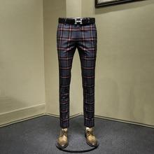 Мужские брюки ретро тонкий бизнес человек уличная Англия Стиль красный плед мужские брюки осень весна молодой одежда для мужчин 30 36