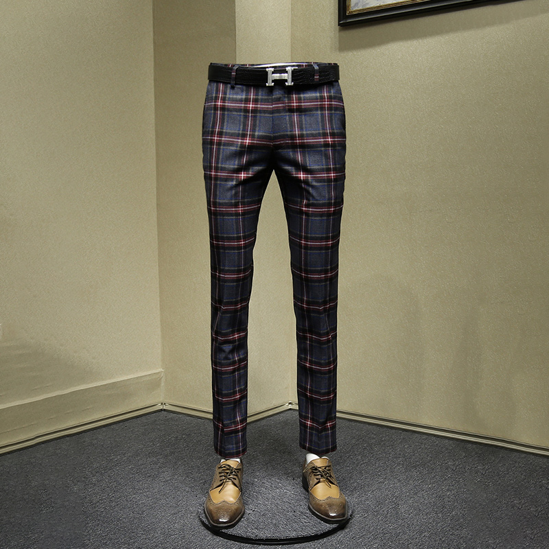 Men Pants Retro Slim Business Man Streetwear England Style Red Plaid Mens Pants Autumn Spring Young Mans Clothing 30 36