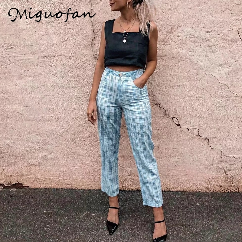 Miguofan Women Blue Plaid Printting Long Pants Blazer Trousers Vintage Straight Pants For Female Bottoms Vintage Office Pants