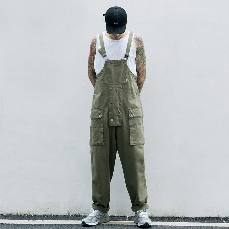 KIOVNO Fashion Men Hip Hop Bib Overalls Multi Pockets Cargo Work Streetwear Jumpsuits For Male Loose Pants (1)