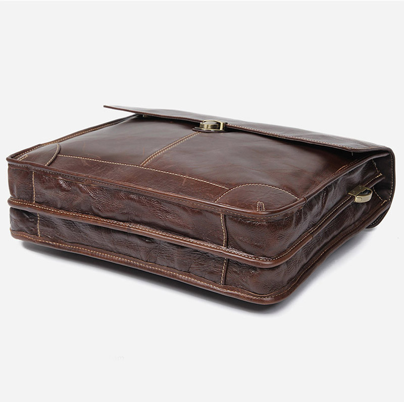 """Hc49044d96fe140669818963aca393f0bD Men's genuine leather briefcase 16"""" Big real leather laptop tote bag Cow leather business bag double layer messenger bag"""