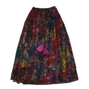 Image 5 - 送料無料 2020 新長期マキシ a ライン弾性ウエスト女性秋夏の綿とリネンスカートプラスサイズ S 2XL 印刷スカート