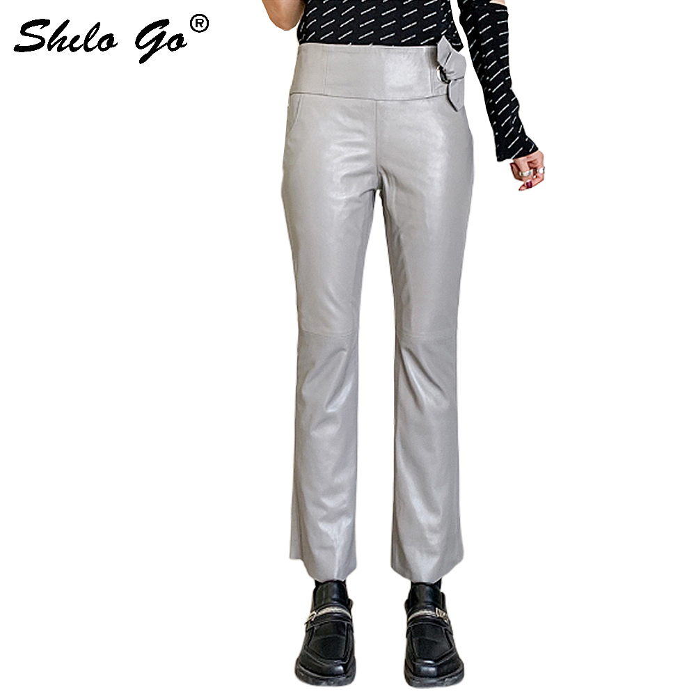 Genuine Leather Pants Elegant Bow Lace Up Detail High Waist Sheepskin Small Flare Pants Women Autumn Winter Office Lady Trousers