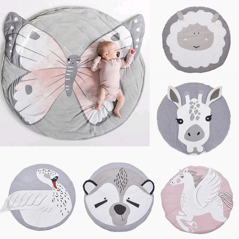 Baby Play Mats Pad Cartoon Animals Toddler Kids Crawling Blanket Round Carpet Rug Toys Mat For Children Room Decor Photo Props