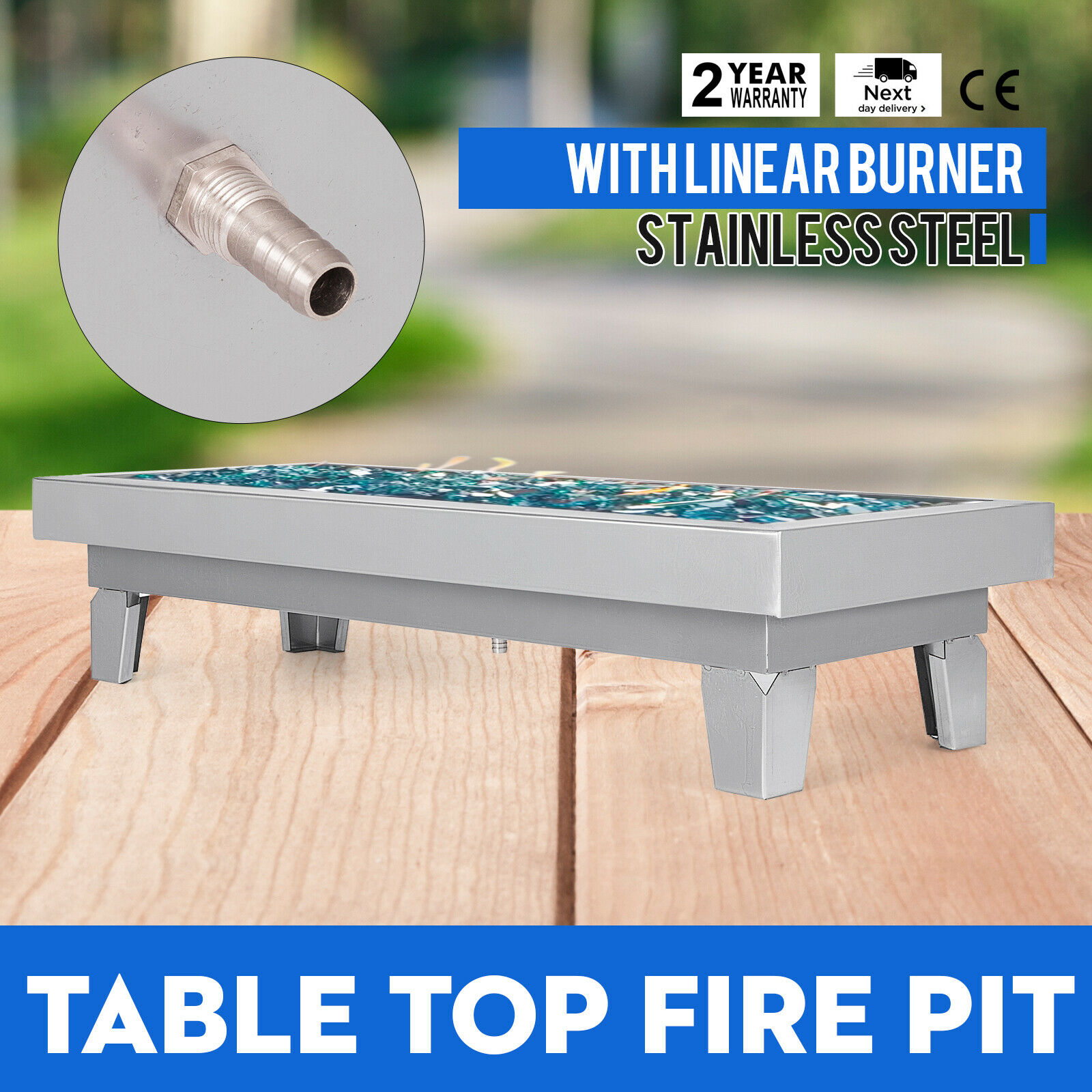 VEVOR 24 X 10 Inch Fire Pit Pan Stainless Steel Linear Fire Pit Pan with Leg Rectangular Table Top Fire Pit Fire Bowl  60K BTU|Rotisserie Parts| |  - title=