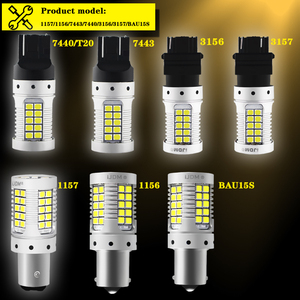 Image 2 - なしハイパーフラッシュ 3157 led canbusアンバーレッド 7443 T20 1157 BAY15D led電球車のブレーキ/、用駐車場の昼間/ターン信号