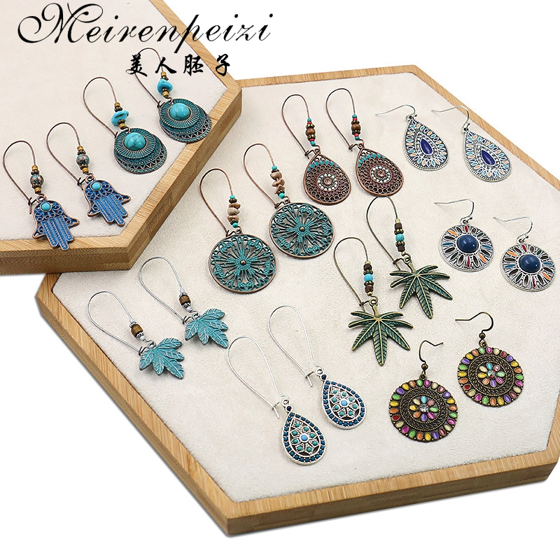 MeirenpeiziKorean Women's Earrings Metal Wood Geometric Fashion Cute Bohemian Drop Earrings Suitable For Winter Gift Jewelry New