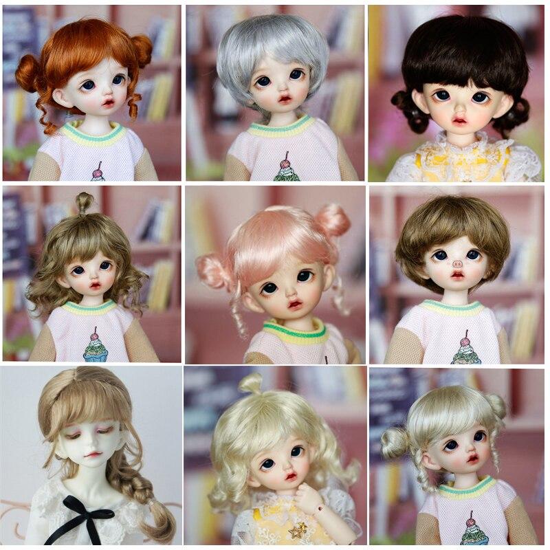 Bjd boneca peruca para 1/6 bjd msd yosd dd boneca peruca marrom ouro rosa trança onda encaracolado peruca longa boneca cabelo especial multicolorido opcional