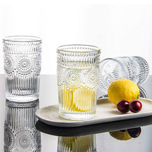 Transparent Sunflower Shape Round Water Cup With Retro Embossed Phnom Penh For Breakfast Juice Milk Cup Whiskey Cocktail Glass