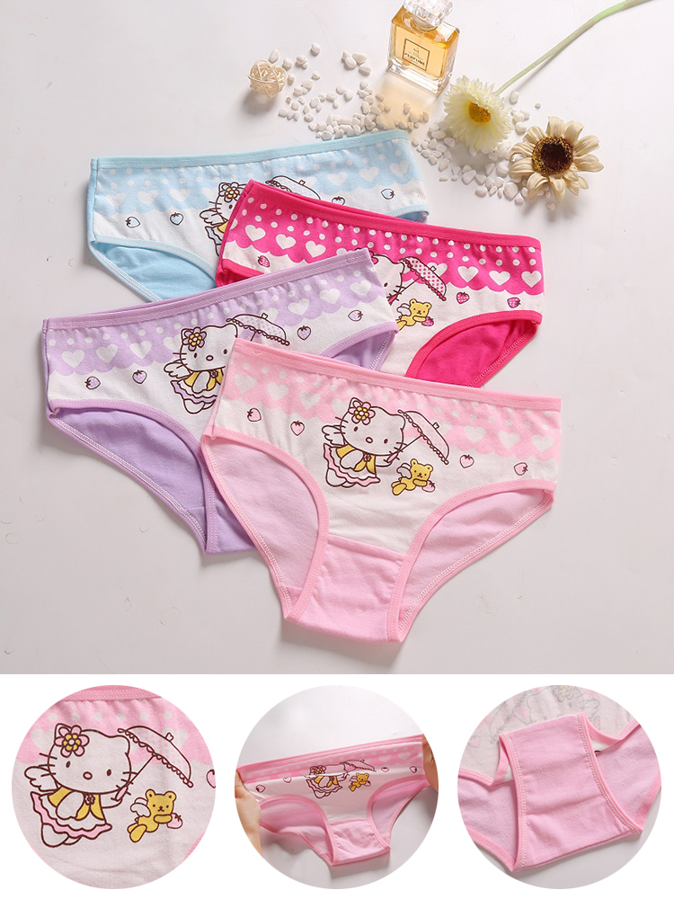 Cartoon Briefs Panties Underwear Girl Breathable Kids Cotton for High-Quality Soft 4pcs/Lot