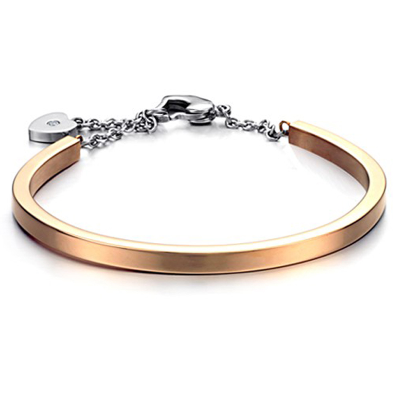 Fashion Silver Black Gold Stainless Steel Bangle Bracelets For Women Adjustable Charm Heart Button Bangles in Cuff Bracelets from Jewelry Accessories