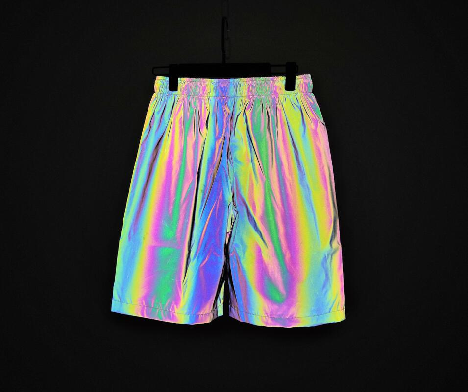 Men Spring Summer Rainbow Color Reflective Shorts Elastic Waist Joggers Mens Colorful Night Reflect Light Short Pants Bermuda