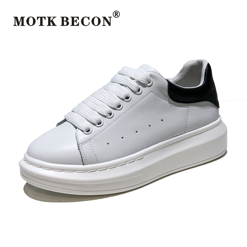 High Quality Big Size 34-44 Men and Women White Shoes Spring Lovers Genuine Leather Flats Women Whit