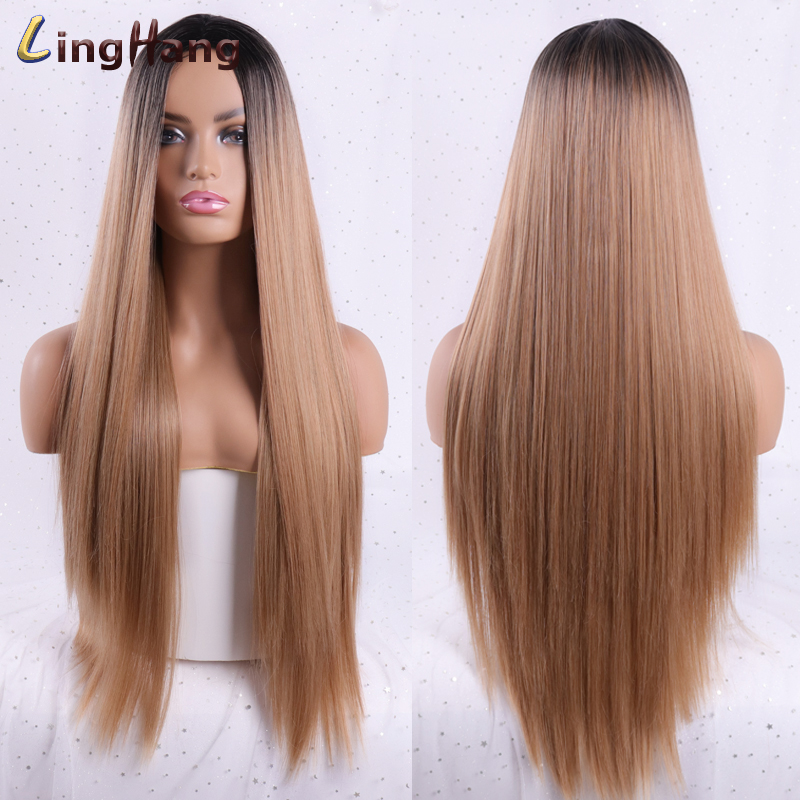 LINGHANG Women's Long Straight Synthetic Wig Mixed Brown And Blonde Long Wigs For White /Black Women Party Cosplay Hair