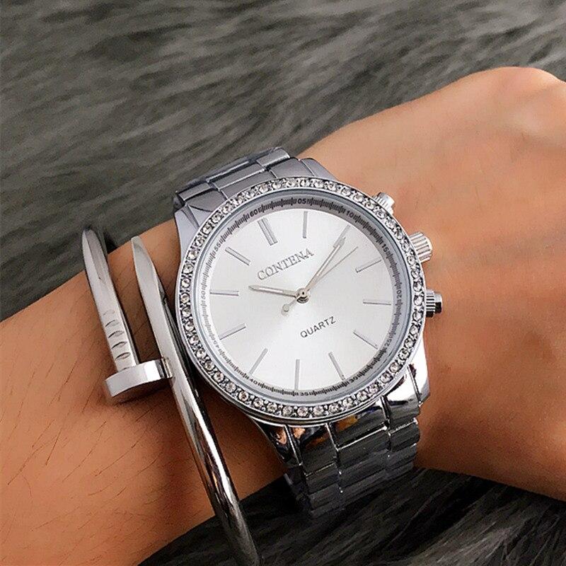 2019 New Contena Quartz-watch Women Dress Watches Luxury Fashion Brand Ladies Metal Bracelet Stainless Steel Vogue Wristwatches