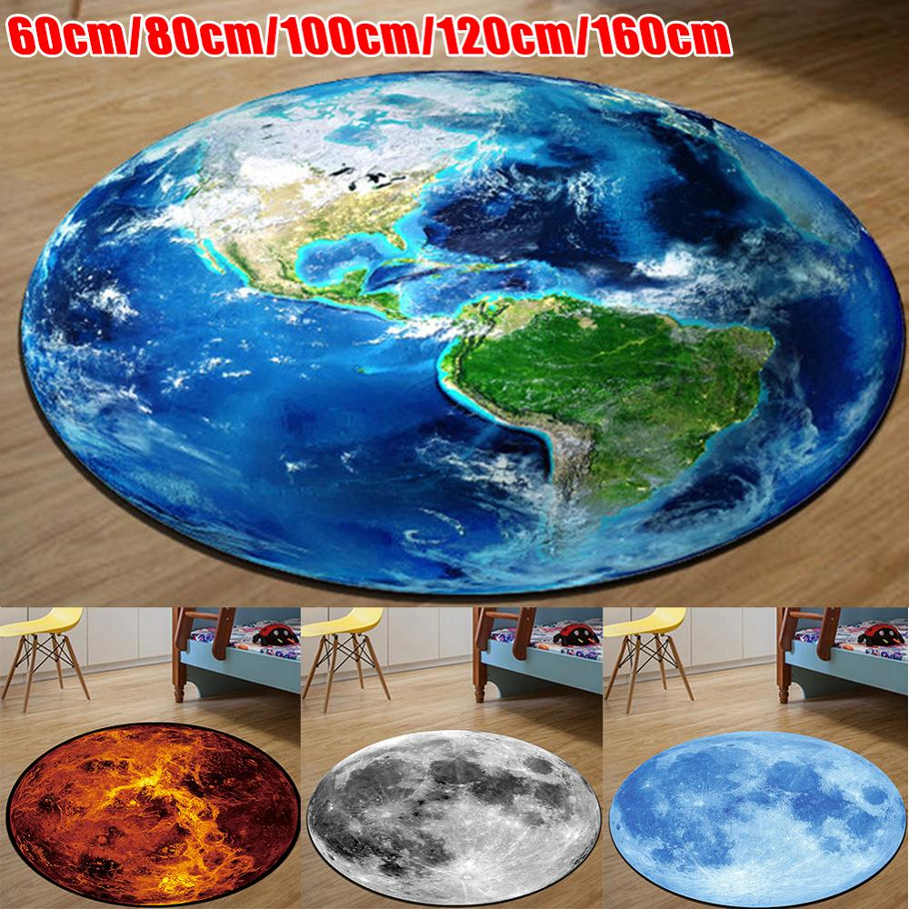 3D Print Earth Moon Planet Soft Carpets Anti-slip Rugs Computer Chair Mat Floor Mat For Kids Room Home Decor
