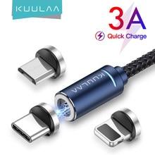 KUULAA – câble magnétique USB Micro et Type C 3A avec éclairage LED, Charge rapide, transfert de données, compatible avec iPhone