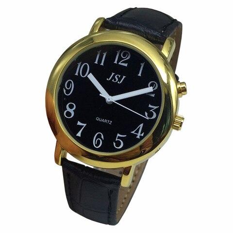Relógio com Função de Alarme Data e Hora Faixa de Couro Francês Falando Mostrador Preto Case Dourado Taf-607