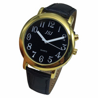 French Talking Watch with Alarm Function  Talking Date and time  Black Dial  Black Leather Band  Golden Case TAF-607