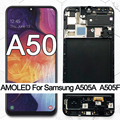 100% Super AMOLED 6.4 LCD For Samsung galaxy A50 2019 A505F/DS A505F A505FD A505A Touch Screen Digitizer Assembly with frame