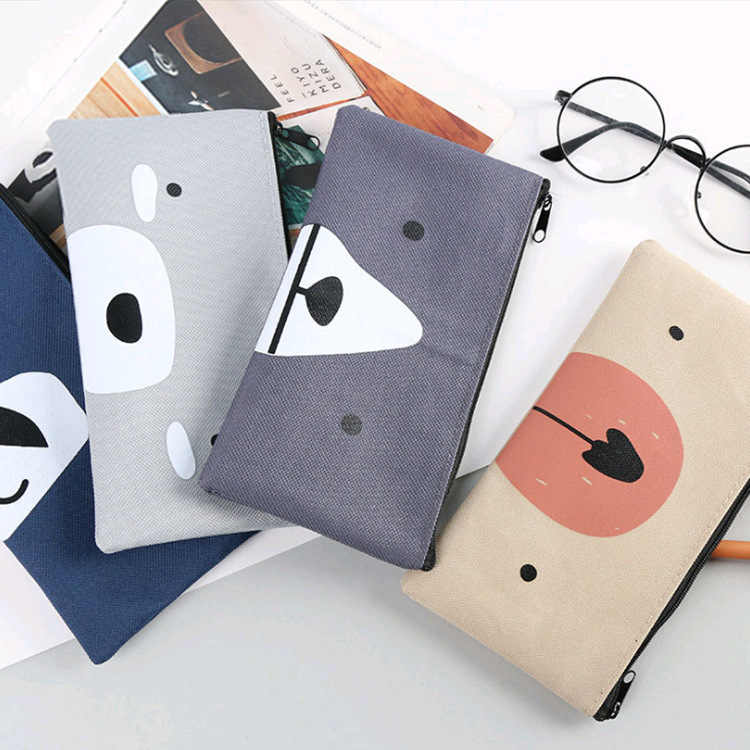 Simple Canvas pencil case for school Cute  Big capacity pencilcase pen bag box Stationery pouch school supplies