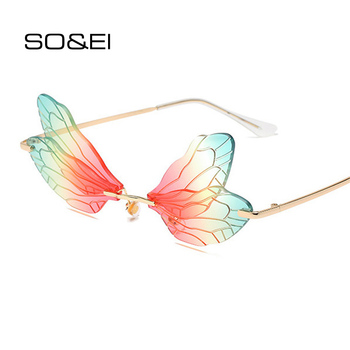 SO&EI Fashion Sunglasses Women Vintage Dragonfly Steampunk Men Rimless Clear Ocean Lens Eyewear Shades UV400
