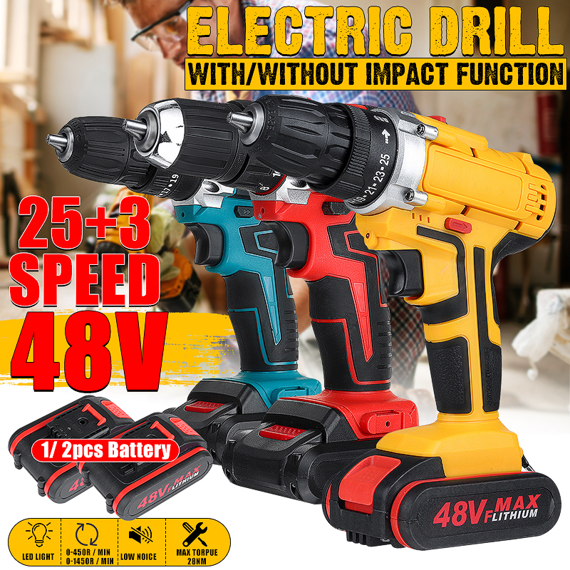 25+3 Torque Drilling Tool 48V 2 Speed Power-Drill Screwdriver Impact Dril Cordless Electric Drill + 1/2 Li-ion Battery 6000mAh