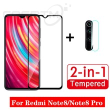 2-in-1 Full Cover Screen Protector For Xiaomi Redmi Note 8 7 Pro Tempered Glass & Back Camera Lens Glass Film For Redmi Note 8 7(China)