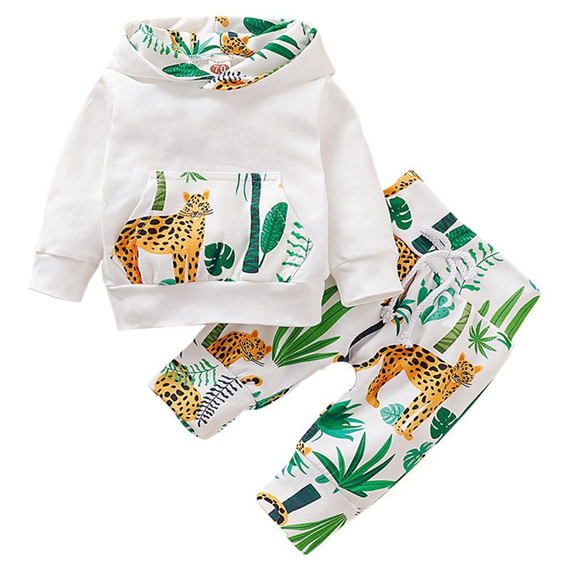 2Pcs Baby Boy Clothes Set Newborn Clothes Cartoon Jungle Print Outfit Baby Boy Outfit Hooded Top And Pant Roupa Infantil D30