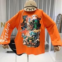 2019 Autumn Fall Print Women Sweatshirt Streetwear Harajuku Tops Pullovers Korean Fashion Loose Designer Top  High Quality