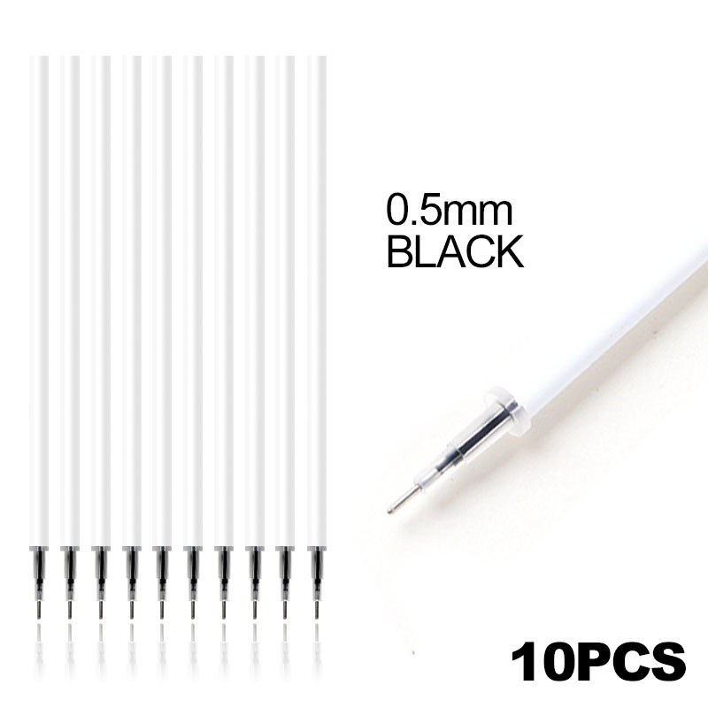 1 Pc White Color Shell Gel Pen Refills 0.5mm Black Ink Kawai Pattern Office Stationery Supplies 13cm Length
