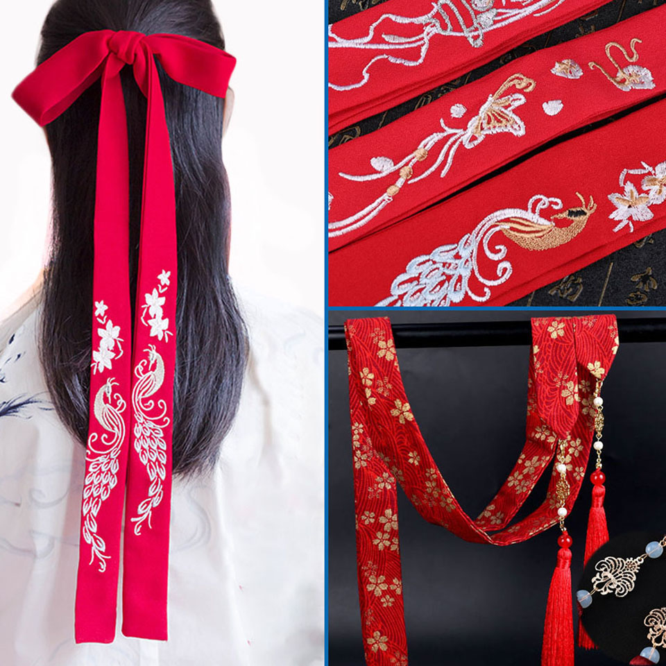 Chinese Traditional Cherry Blossom Long Hair Ribbon Hanfu Hair Band Antique Style Hair Tie Embroidery Bow Headband Accessories