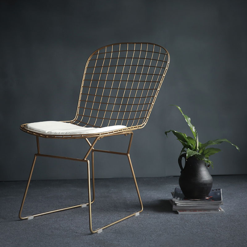 Nordic Wrought Iron Hollow Wire Chair Designer Studio Talk Chair Cafe Tea Shop Lounge Chair