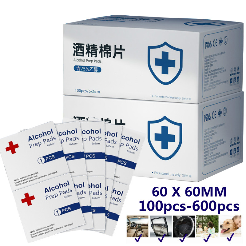 100-600Pcs/lot 75% Alcohol Prep Pads Disposable Alcohol Cotton Wipe Sheet 6*6cm Disinfection Tablet Sterilize 99.9%