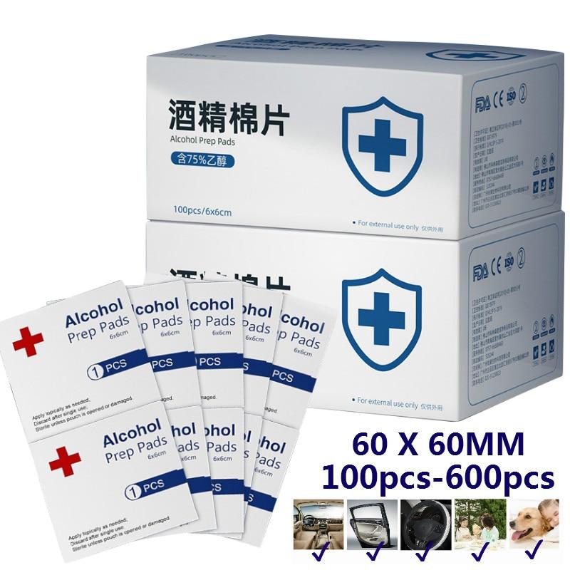 100-600Pcs/lot 75% Alcohol Prep Pads Disposable Alcohol Cotton Wipe Sheet 6*6cm Disinfection Tablet Sterilize 99.9%