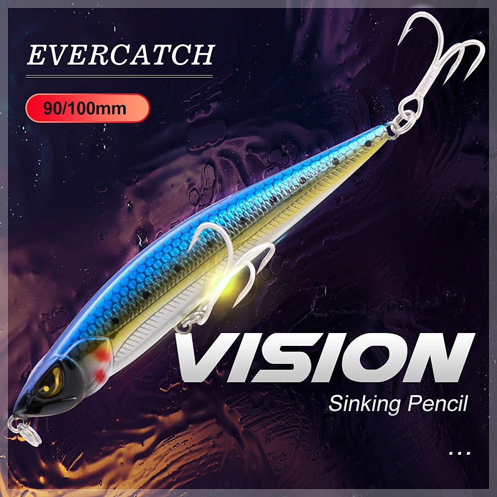 Evercatch Vision 90/100mm Sinking Pencil Subsurface Jerkbait Minnow Hard Bait Wobblers Fishing Lure For Trout Bass Pike Perch
