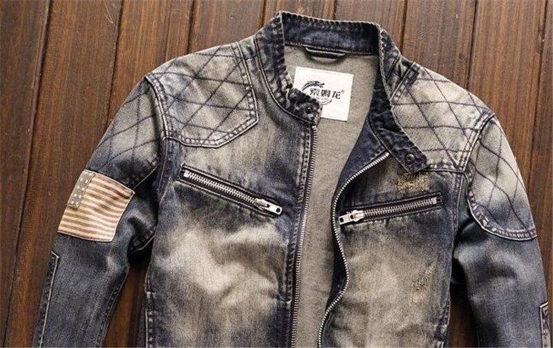 MORUANCLE Homens Motociclista Jaquetas Jeans Do Vintage Com O Patch de Moda Oi Rua Retro Caminhão Denim Outerwear Jaqueta de Moto Para O Sexo Masculino - 5