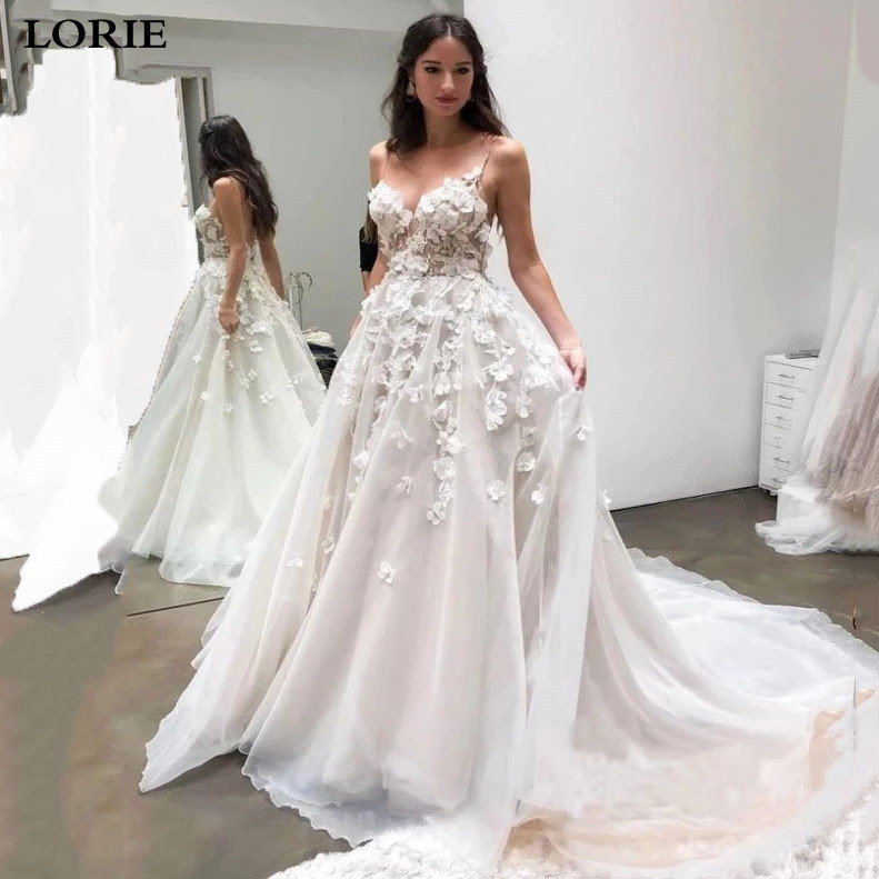 LORIE  Sweetheart Princess Wedding Dress Appliqued With Flowers Spaghetti Straps Bride Dress Vestidos De Novia