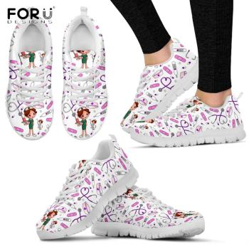 forudesigns animal dog cat print 2018 spring and summer designer sneakers women shoes lace up casual air mesh female shoes woman FORUDESIGNS Funny Cartoon Nurse Girl Pattern Woman Flats Shoes Spring/Autumn Mesh Lace Up Sneaker Nursing Female Casual Footwear