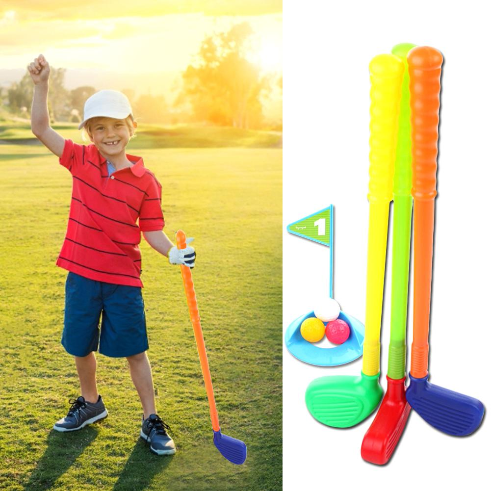 Children Kids Golf Club Toys 3 Golf Clubs 3 Golf Ball Toy Mini Golf Game Sports For Baby Grasping Ability Developing Golf Supply